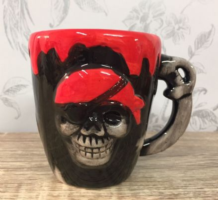 Pirate Skull Skeleton Face Ceramic Mug - Red & Black